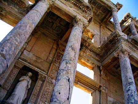 Beautiful Marble Columes and Carvings of Library of Celsus